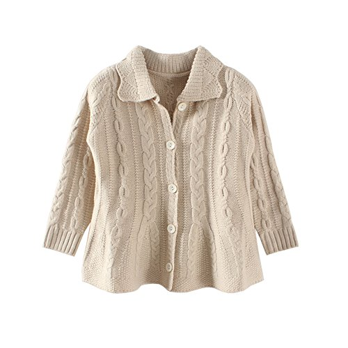 Mud Kingdom Girls Cardigan Sweaters Button Up Beige Size 7 by Mud Kingdom