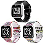 Moretek Bands for Fitbit Versa, Women Men Large Band Replacement Accessories Strap for Fitbit Versa Smart Watch Fitness Wristbands (Black/2Waves 3pcs, Large)
