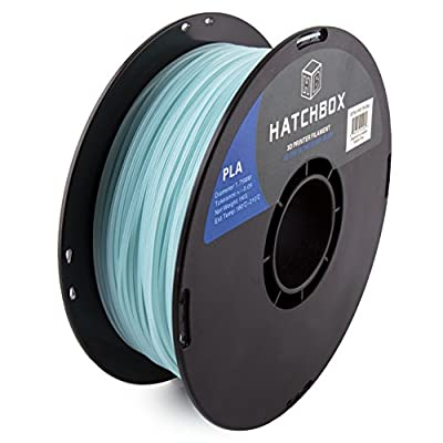 HATCHBOX Glow in the Dark PLA 3D Printer Filament, Dimension Accuracy +/-0.05 mm, 1 kg Spool, 1.75 mm - Blue