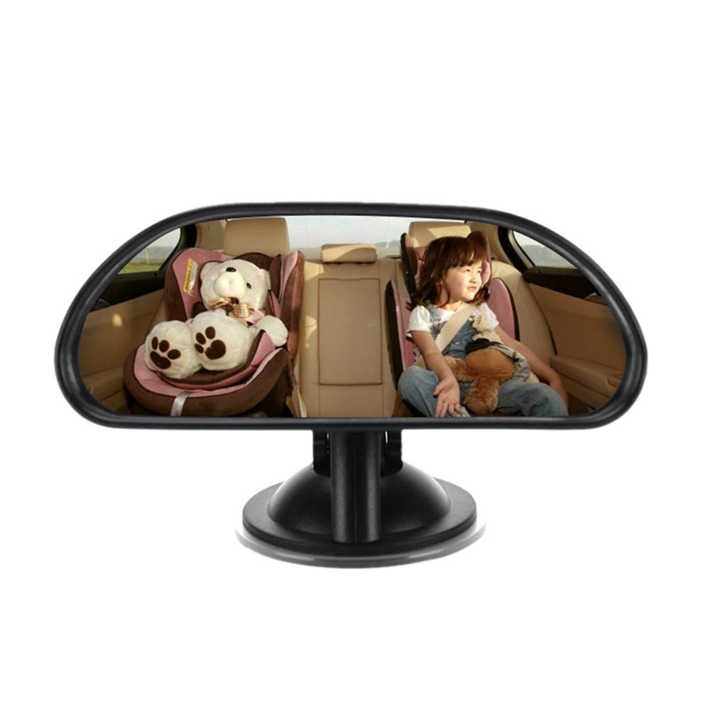 Backseat Mirror for Baby Large Wide Child Car Safety Easily Adjustable Rear View (black)