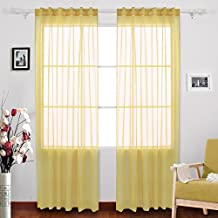 Deconovo Rod Pocket Curtains and Drapes Sheer Voile Curtains Faux Linen Look Sheer for Kitchen 52 W x 84 L Inch Set of 2 Panels Yellow