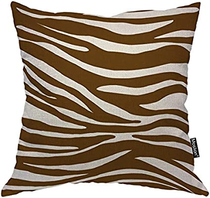 Awesome Moslion Striped Throw Pillow Case Brown White Stripes Animal Zebra Skin Leopard Pillow Cover Decorative Square Cushion Accent Cotton Linen 20X20 Inch Uwap Interior Chair Design Uwaporg