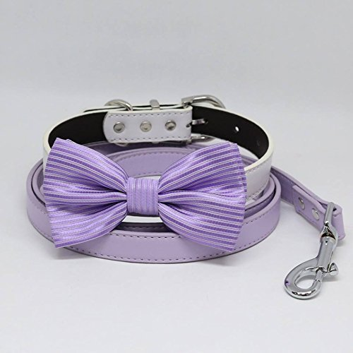 Lavender Bow tie, Dog collar leash, Lilac Leash, Handmade, Puppy Gift, Dog collar wedding, Dog of Honor by LADogStore Pet Wedding Accessories