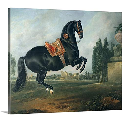 """GREATBIGCANVAS Gallery-Wrapped Canvas Entitled A Black Horse Performing The Courbette by Johann (1672-1737) Hamilton 12""""x10"""""""