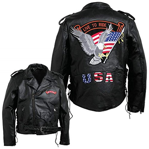 - USA Wholesaler - GFMOTLTR - Diamond Plate™ Men's Hand-Sewn Pebble Grain Genuine Buffalo Leather Jacket