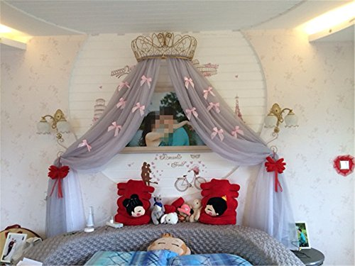 Bed Curtains for Girls KCPY001 2018 Sweet Korean Style Cute Bow-Knots Canopy for Girls Bed ()