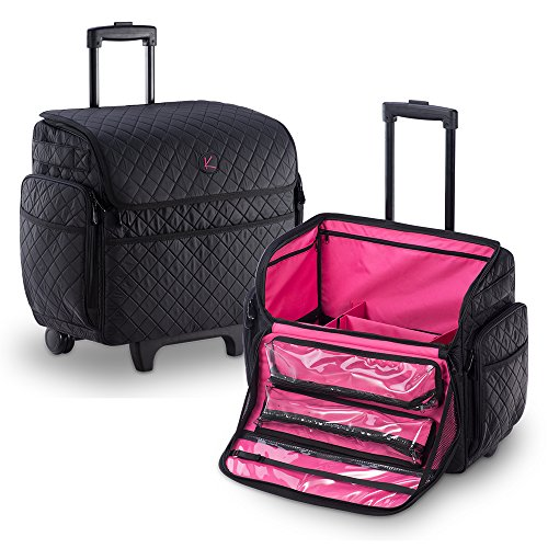 KIOTA Makeup Artist Case on Wheels, Soft Cosmetic Case with Trolley and Removable Storage Pockets for Beauty Products, Side Compartments with Zippers, Midnight Black by Kiota