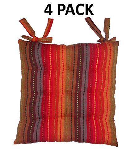 Cotton Craft - 4 Pack Red Multi Salsa Stripe Dining Chair Pad cushion with ties (Pier Cushions Patio Furniture 1)