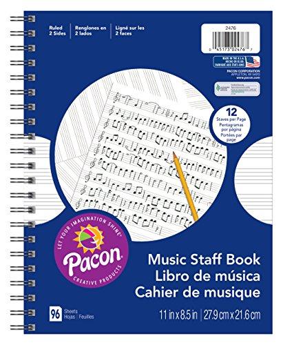 Pacon  Music Staff Paper, Spiral Bound Book,  11