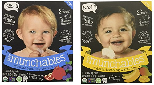 Nosh Baby Munchables Teethers Organic Rice Teething Wafers, 26 Piece, Sampler Pack (Pack of 2), Pomegranate Blueberry & Banana Mango