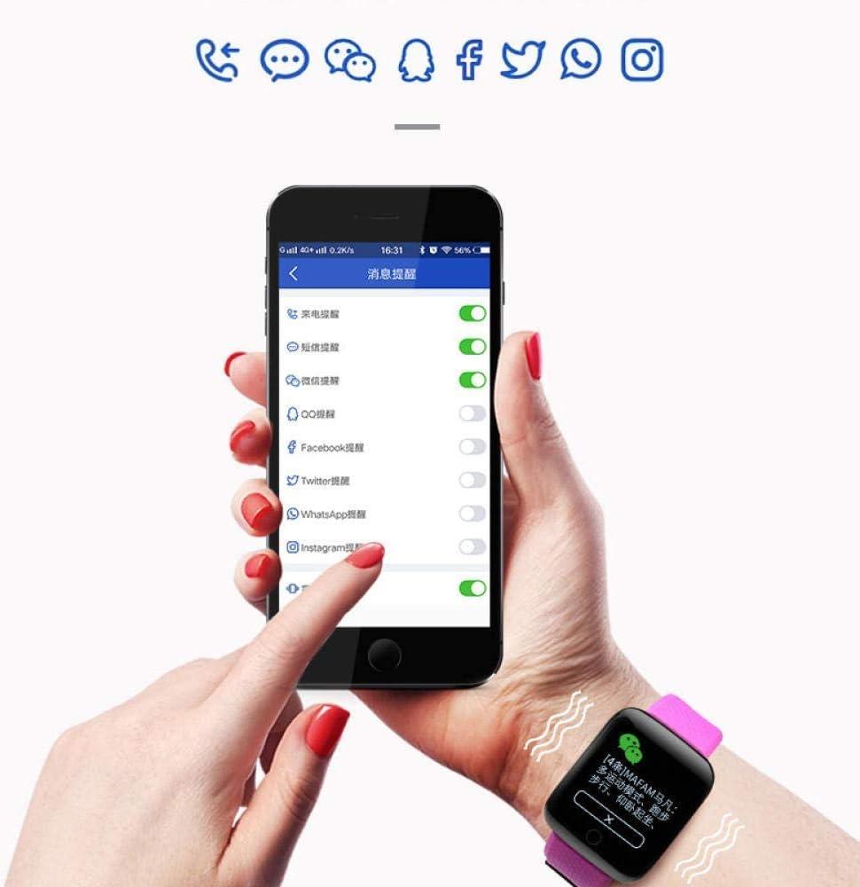 NMQQ SmartWatch, la Pressione sanguigna e Android contapassi Impermeabile Sport Fitness frequenza cardiaca bracciali Sportivi Intelligente di Orologi, Braccialetti viola