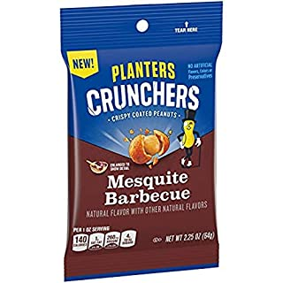 Planters Crunchers Mesquite BBQ Crispy Coated Peanuts (2.25 oz Pouchs, Pack of 6)