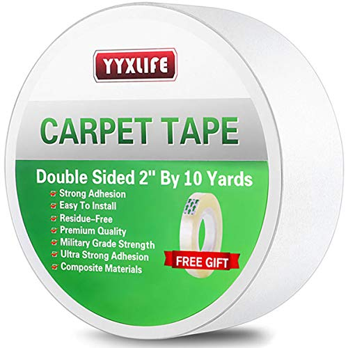 YYXLIFE Double Sided Carpet Tape for Area Rugs Carpet Adhesive Rug Gripper Removable Multi-Purpose Rug Tape Cloth for Hardwood Floors,Outdoor Rugs,Carpets.Heavy Duty Sticky Tape,2Inch x 10 Yards,White (Hardwood Floor Rugs Area Rugs Best)