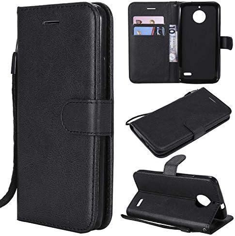 Moto E4 ケース 手帳型 CUSKING 手帳型 カバー Moto E4 用 スタンド機能 横置き機能 カードポケット スマホケース 財布型 ケース カバー – ブラック