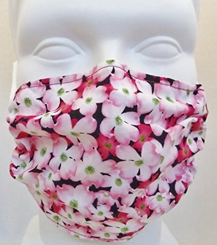 Breathe Healthy Dust, Allergy & Flu Mask - Comfortable, Washable Protection from Dust, Pollen, Allergens, Cold & Flu Germs with Antimicrobial; Asthma Mask; Pink Dogwwd Design (Adult) (Mask Washable)