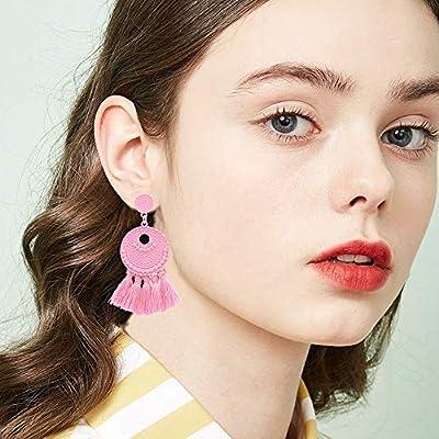 Boho Tassel Retro Disc Thread Fringe Ear Drop Dangle Long Earrings for Women Girl Tassel Earrings