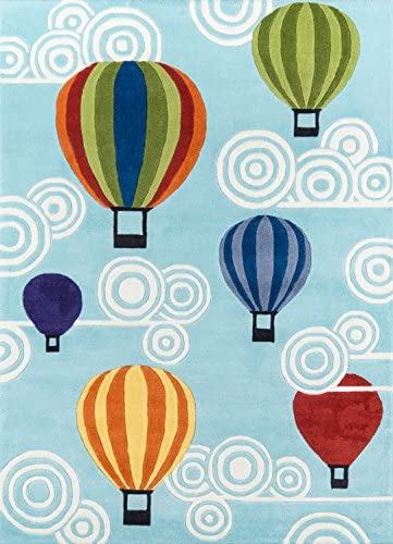 Momeni Rugs Lil Mo Whimsy Collection, Kids Themed Hand Carved Tufted Area Rug, 8 x 10 , Multicolor Hot Air Balloons on Sky Blue