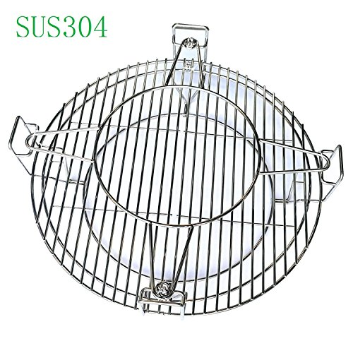 "Hongso SCS180 BBQ Cooking Grate System for Large Big Ggreen Egg, Kamado Joe Classic and Other 18"" Ceramic Grills"