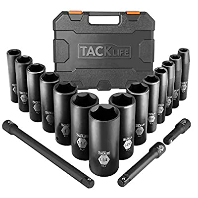TACKLIFE Impact Socket Set 1/2-inch Drive SAE, 17pcs Drive Deep Impact Socket Set, 6 Point, 3/8-1-1/4 inch, 14pcs Inch Sockets with 3pcs 1/2-Inch Drive Impact Extension Bar Set - HIS2A: Home Improvement