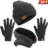 Mysuntown Winter Beanie Hats Scarf Touch Screen Gloves 3 Pieces Hat Scarf Gloves Set Thick Knit Skull Cap for Men Women (Black)