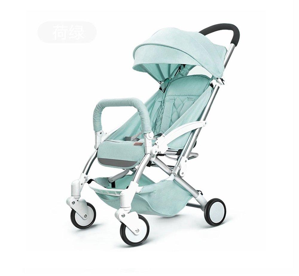 シンプルな高地景観の子供のトロリー軽量折り畳みの赤ちゃんの傘の車四輪車アルミマグネシウムゴールドチューブ(緑)   B07PRHP7N7