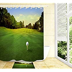 LB Outdoor Golf Course Forest Lawn Sports Theme Landscape House Decorations Bathroom Set, 70x70 Bathroom Curtain Waterproof Anti Mold, 15 x 23 Inch Non Slip Bathroom Rug