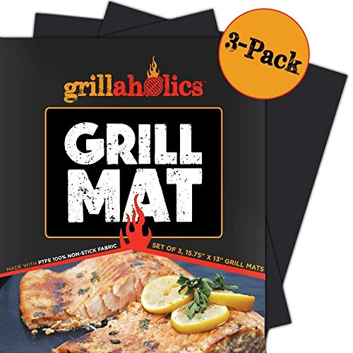 Grillaholics Grill Mat - Set of 3 Heavy Duty BBQ Grill Mats - Non Stick, Reusable and Dishwasher Safe Barbecue Grilling Accessories - Lifetime Manufacturers Warranty (Charcoal Grilling A Chicken Grill On)