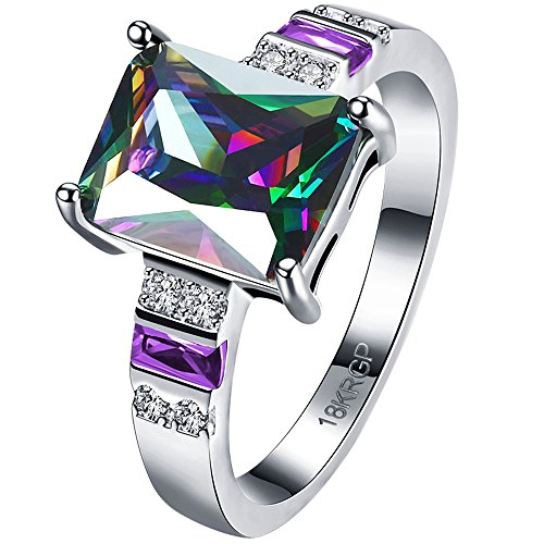 AWLY Womens 18k White Gold Plated 3 White Purple Stone Square Cut Colored Multicolor CZ Wedding Ring Size 8 Colored Stone Ring