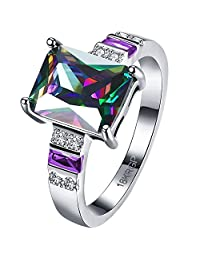 AWLY Jewelry Womens Platinum Plated Purple Amethyst Square Mystic Rainbow Topaz Solitaire CZ Ring Wedding