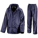 Kids Waterproof Jacket & Trousers Suit Set in Black, Navy Blue or Royal Blue Childs Childrens Boys Girls WR225J (11-12 Years, Navy Blue)