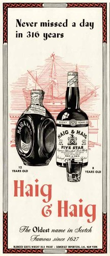Great 1943 Wartime AD for HAIG & HAIG &Pinch Scotch for sale  Delivered anywhere in USA