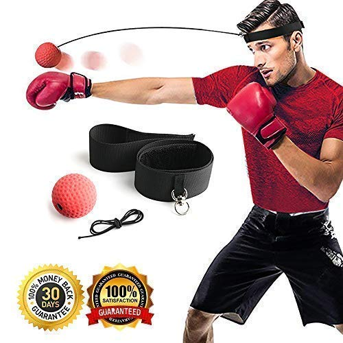 Gdaytao Boxing Ball Reflex Headband, 2 Training Speed Levels, Great Fight Trainer on String, Perfect Improving Speed Reactions, Agility, Punching Speed Hand Eye Coordination (Black)