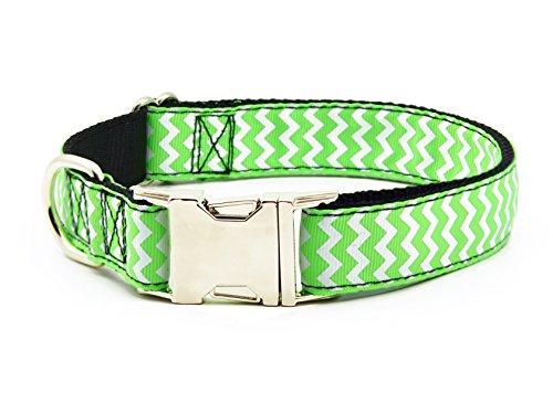 BIG SMILE PAW Nylon Dog Collar Adjustable,Heavy Duty Dog Collar with Metal Buckle (L, Green)