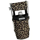 Crutcheze Leopard Crutch Bag - Medical Crutch Accessory Pouch - Secure Tote for Crutches Made in USA - Lightweight & Washable (3 Pockets)
