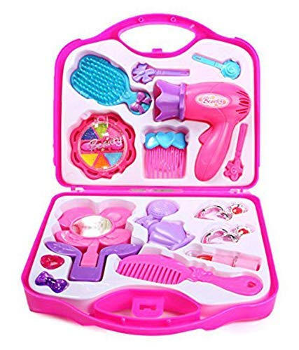 J S Little Girl's Plastic Cosmetic Play Beauty Salon Makeup Set Toy (Pink)