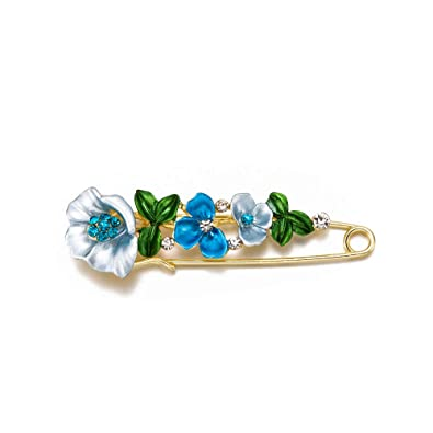 Jewelry & Watches Large Flower Diamante Crystal Multi-coloured Enamel Golden Safety Pin Brooch