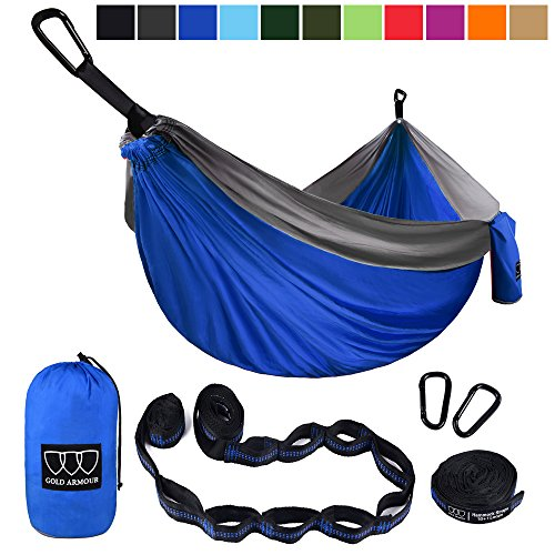 XL Double Parachute Camping Hammock - Tree Portable with Max 1000 lbs Breaking Capacity - FREE 16 Loops Tree Strap & Carabiners For Backpacking, Camping, Hiking, Travel, Yard (Blue / Gray)