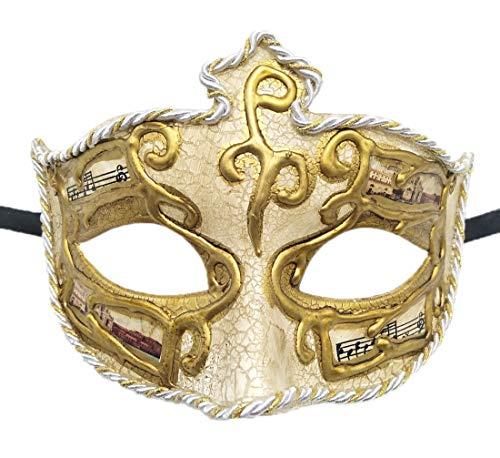 (Men's Masquerade Mask Vintage Venetian Crack Party Mardi Gras Ball Costume Mask (Surrounding White))