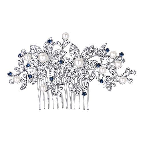 EVER FAITH Silver-Tone Austrian Crystal Cream Simulated Pearl Graceful Redbud Flower Hair Comb Blue