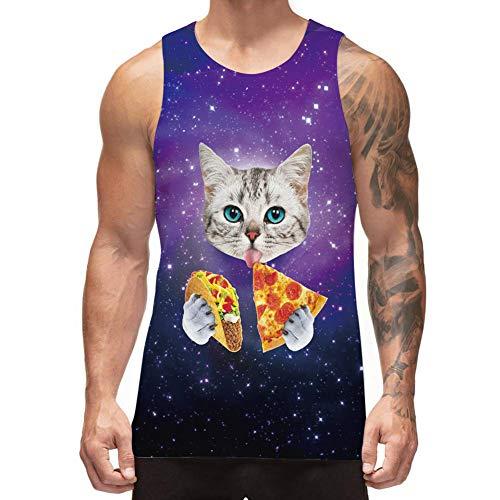 Freshhoodies Funny Tank Tops for Men Summer Stylish Sleeveless Shirts Taco Cat Novelty Rave Tank Tops for Teen Boys (A3-Pizza Cat, Medium) -