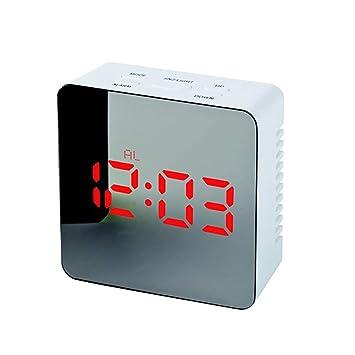 wiFndTu Reloj Despertador con Espejo, Espejo de Maquillaje LED Luz Nocturna Mute Pantalla de Tiempo Reloj Despertador Digital - Cuadrado Rojo: Amazon.es: ...