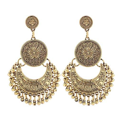 BaubleStar Antique Gold Vintage Dangle Bohemian Crescent Moon Beaded Tassel chandelier Earrings Boho Chic Coin Drop Statement Jewelry for Women Girls BAN0076G