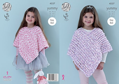 King Cole Girls Knitting Pattern Easy Knit Garter Stitch or Lace Ponchos Yummy Chunky (4537)