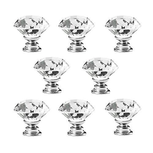 8 Pcs Crystal Glass Diamond Drawer Wardrobe Kitchen Cabinets Cupboard Door Pull Knobs - 1