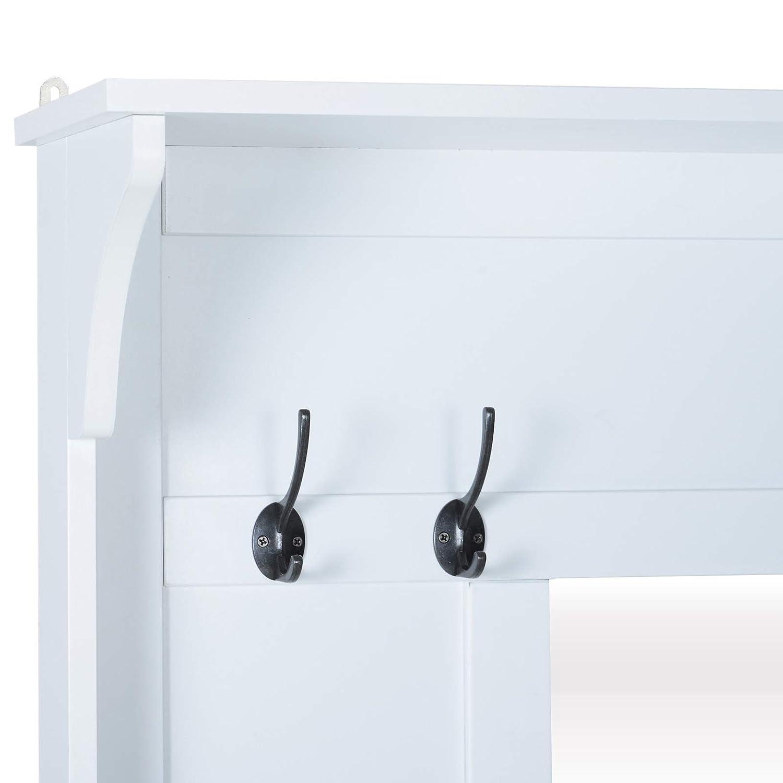 4 ganchos dobles forman la parte del perchero de este mueble para recibidor homcom