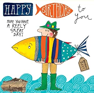Big fish happy birthday card office products for Fishing birthday cards