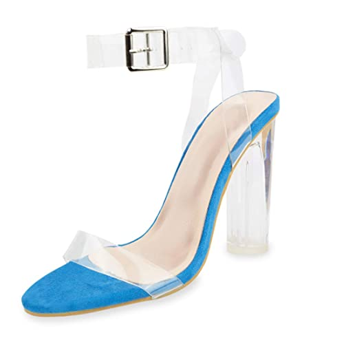 e5938adb0d6 Women's High Heel Sandals for Women Ankle Strap Block Clear Chunky Heels  Holidays Party Shoes