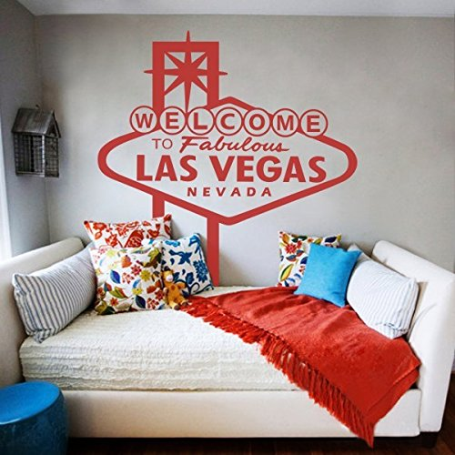 Welcome to Fabulous Las Vegas Nevada Fashion Bedroom Dorm Living Room Wall Quotes Vinyl Words Decor Removable Words Art (Medium,Tomato Red) ()