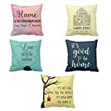 YaYa cafe Printed Love Goodness Happy Home throw cushions pillow covers 16x16 inches for Home decor Sofa Chair bedroom living Room - Set of 5