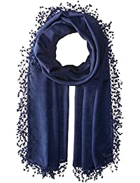Women's Wool-silk Blend Scarf With Lace Pom Fringe